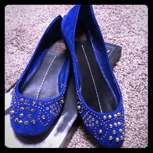 DV Dolce Vita Electric Blue Suede Spiked Flats